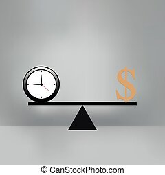 Money and Time balance on the scale.