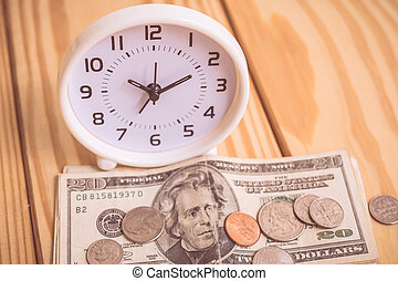 Money and time with vintage color effected
