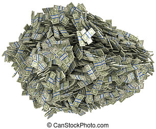 Money and wealth. Heap of US dollar bundles. Isolated over...