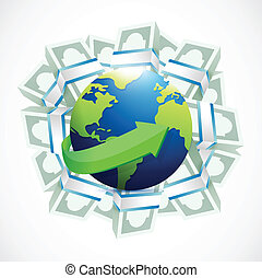 money around a globe. illustration