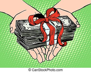Money as a gift. Financial income pop art retro style. The fee for the labour. Wages. Prize in the lottery. A monetary award. Charity and donations