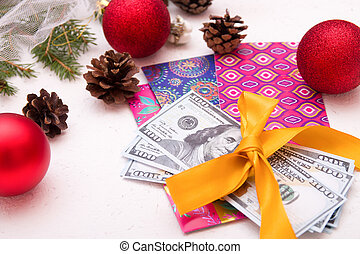 money as a gift for the new year, christmas