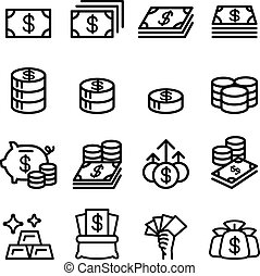Money , Asset , property, coin , banknote , investment icon in thin line style