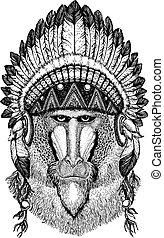 Money, baboon. Wild animal wearing inidan headdress with...