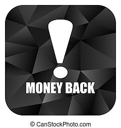Money back black color web modern brillant design square internet icon on white background.