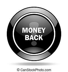 money back black glossy icon