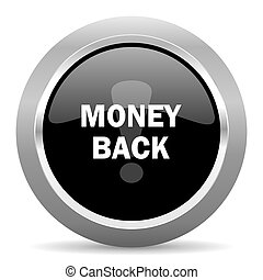 money back black metallic chrome web circle glossy icon