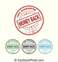 Money Back Guarantee 100 Percents Label Set Template Isolated