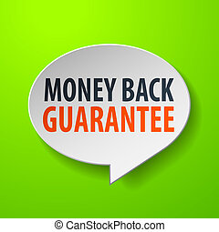 Money Back Guarantee 3d Speech Bubble on Green background