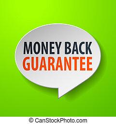 Money Back Guarantee 3d Speech Bubble on Green background