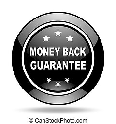 money back guarantee black glossy icon