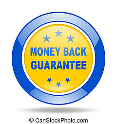 money back guarantee blue and yellow web glossy round icon