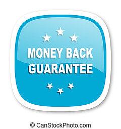 money back guarantee blue glossy web icon