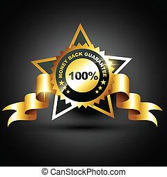 money back guarantee - stylish golden money back guarantee...