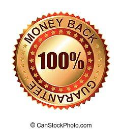 Money Back Guarantee golden label.
