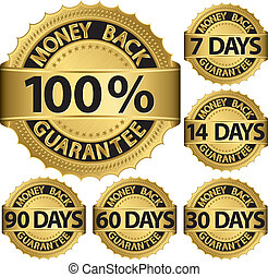 Money back guarantee golden set, vector