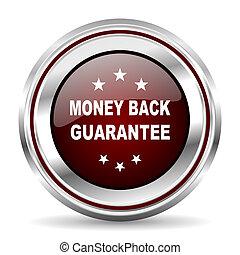 money back guarantee icon chrome border round web button silver metallic pushbutton