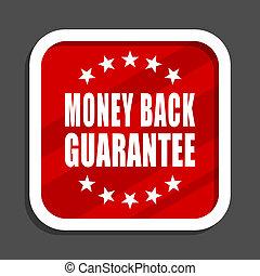 Money back guarantee icon. Flat design square internet banner.