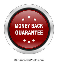 money back guarantee icon, red round button isolated on white background, web design illustration