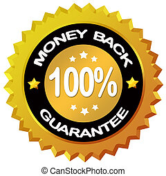 Money back guarantee label isolated on white background
