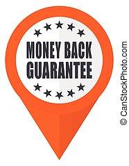 Money back guarantee orange pointer vector icon in eps 10 isolated on white background.