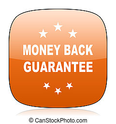 money back guarantee orange square web design glossy icon