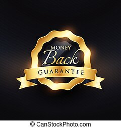 money back guarantee premium golden vector label design