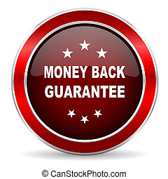 money back guarantee red circle glossy web icon, round button with metallic border