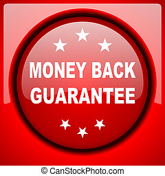 money back guarantee red icon plastic glossy button