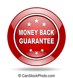money back guarantee red web glossy round icon