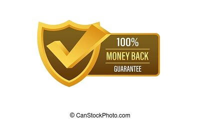 Money back guarantee. Ribbon banner. Sale tag. Sale banner badge. Motion graphics.