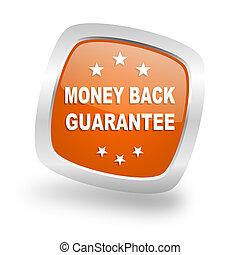money back guarantee square orange glossy chrome silver metallic web icon