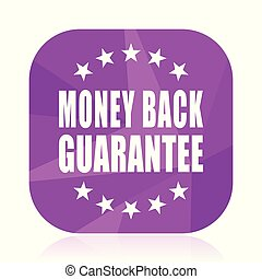 Money back guarantee violet square vector web icon. Internet design and webdesign button in eps 10. Mobile application sign on white background.