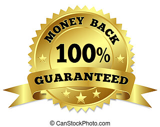 Money Back Guaranteed Gold Badge - Vector gold circular...
