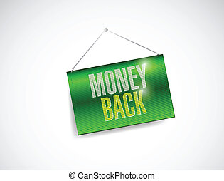 money back hanging banner illustration