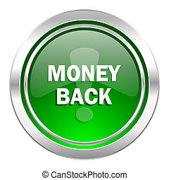 money back icon, green button