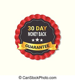 Money Back In 30 Days Guarantee Label Template Isolated