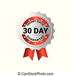 Money Back In 30 Days Template Medal With Ribbon Sticker Isolated