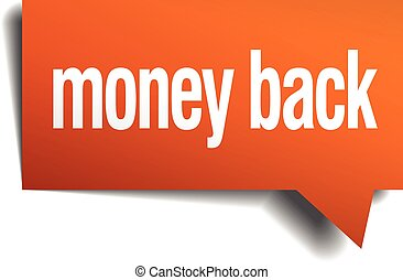 money back orange speech bubble isolated on white