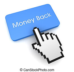 money back push button concept 3d illustration