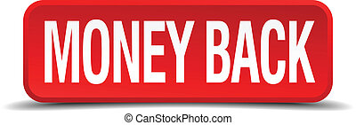money back red 3d square button isolated on white