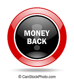 money back red and black web glossy round icon