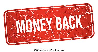 money back red square grunge textured isolated stamp