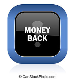 money back square glossy icon