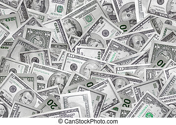 Money background - A large pile of money making a...