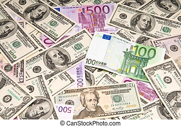 American and European banknotes (paper money) background