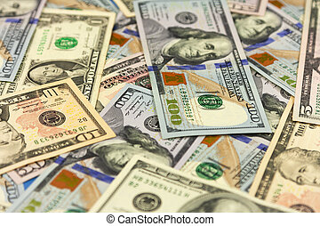 Money background. Big pile of dollars. Background of paper banknotes.