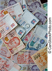 Singapore dollars - Money background from Various nominal ...