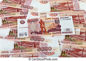 Money background of russian roubles. Banknotes five thousand rubles.