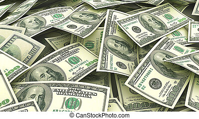 Money background. Screen full of dollars. 3d illustration